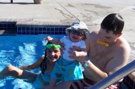 Tyler, Sam and Fin at the Pool