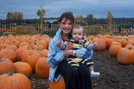 Samantha and Finley at the Pumpkin Patch