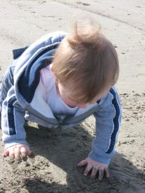 Finley Playing in the Sand for the First Time