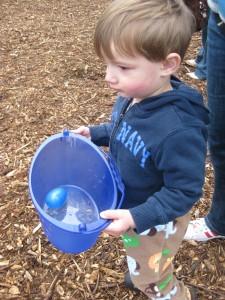 Finley collecting eggs