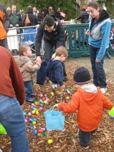 In the egg hunt just watching the eggs.