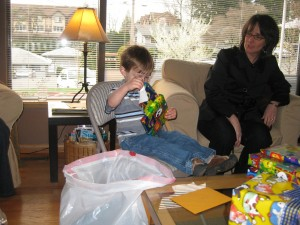 Finley Opening Presents on his special day.
