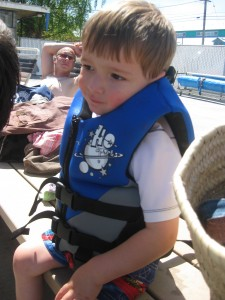 "Getting ready to get in the pool in his new ""swim jacket"""