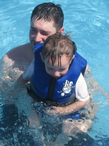 Finley and Tyler swimming