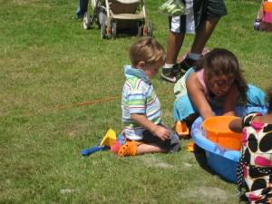 Finley enjoying the kids activities at the marina before the parade.
