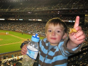 Finley enjoying his favorite part of the game - snacks!