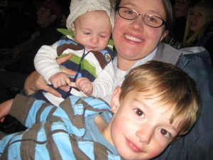 Trying to get a good picture of mommy and the boys - boys weren't cooperating.