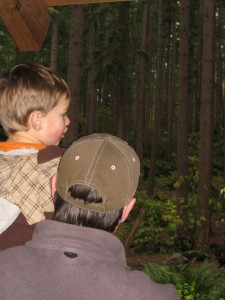 Tyler and Finley looking at the Bear