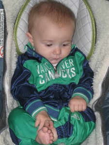 Declan in his Canuck's Outfit