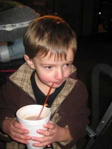 Finley enjoying his cocoa