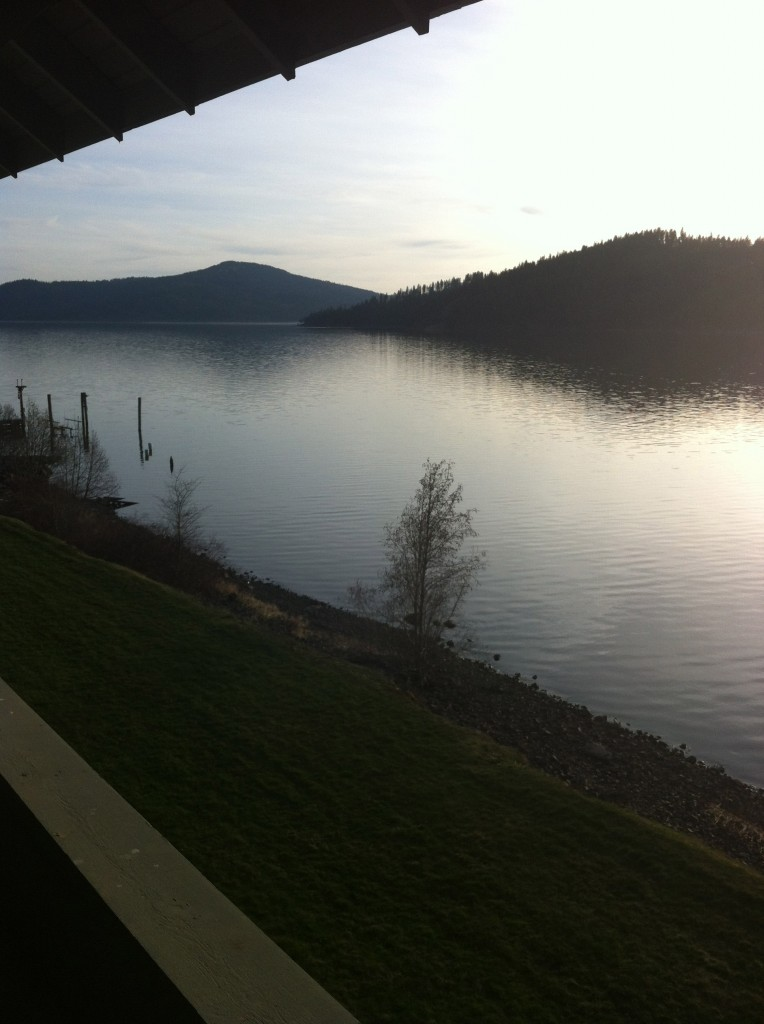 After an 8 hour drive to Idaho we arrived.  Here is the view from our condo of the lake.