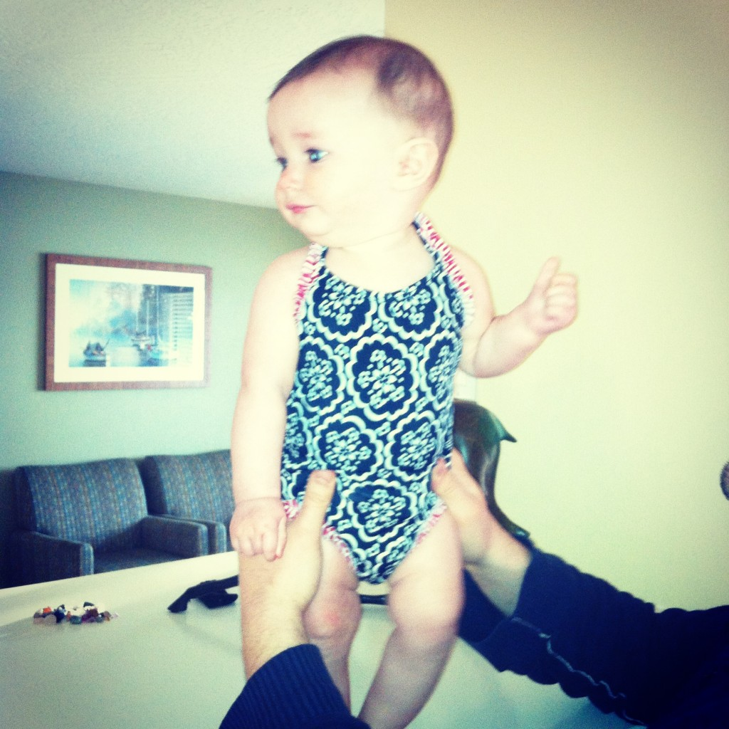 Savi headed to the pool for the first time.  She LOVED it.