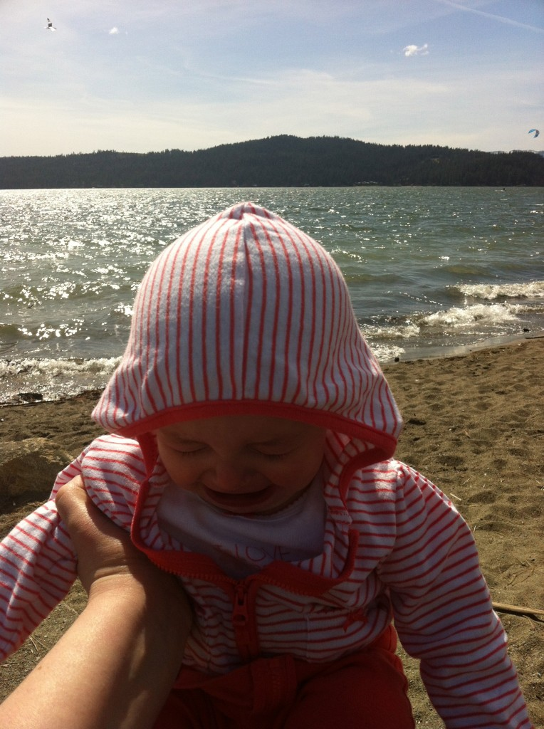 Playing in the lake while Finley was at Urgent care.