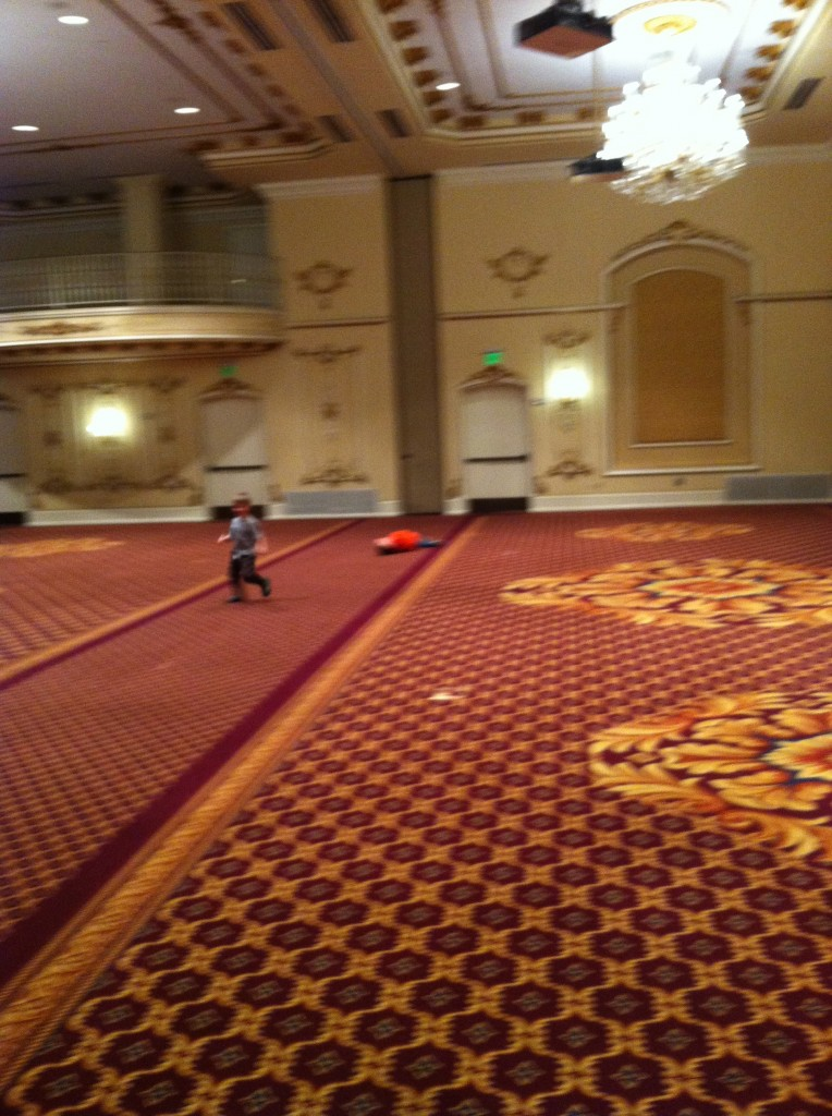 On our way home we stopped in Spokane to see someone Tyler worked with in Seattle.  We got to see the historic ballroom at the Davenport Hotel.  Boys had fun running.